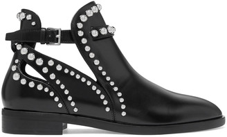 Alaia Cutout Studded Glossed-leather Ankle Boots