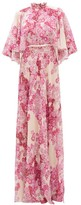 Giambattista Valli Cape-back Floral-print Georgette Gown - Womens - Pink Multi