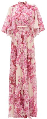 Giambattista Valli Cape-back Floral-print Georgette Gown - Womens - Pink Multi