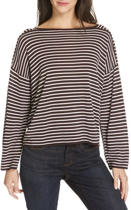 Eileen Fisher Striped Boatneck Sweater (Petite)