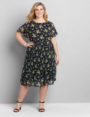 Lane Bryant Flutter-Sleeve Pleated Midi Dress