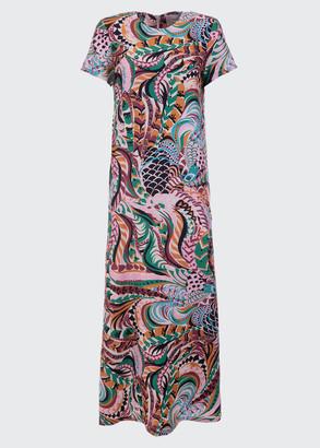 La DoubleJ Printed Short-Sleeve Maxi Swing Dress