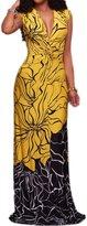 Zilcremo Women's Sleeveless V Neck Floral Print Colorblock Maxi Evening Dress XS