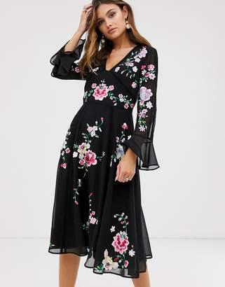 Asos Design DESIGN embroidered midi dress with lace trims-Black