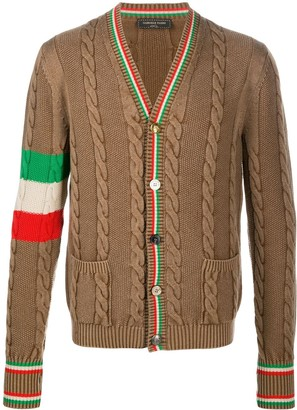 Gabriele Pasini Stripe-Detail Cable-Knit Cardigan
