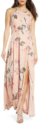 Lulus Daley Floral Print Chiffon Gown