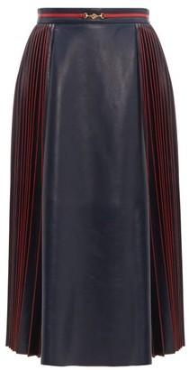 Gucci Pleated Leather Midi Skirt - Navy Multi