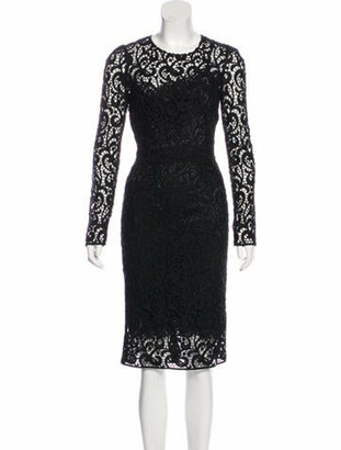 Dolce & Gabbana Crochet Midi Dress Black