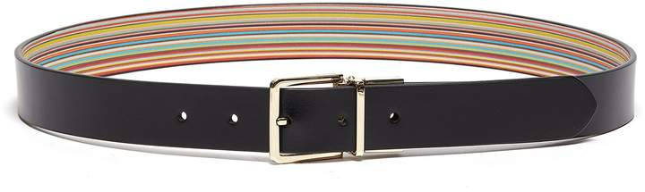 Paul Smith Reversible interchangeable buckle stripe leather belt