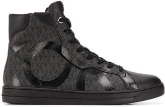Michael Kors High Top Printed Monogram Sneakers