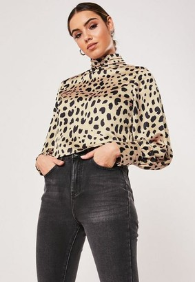 Missguided Nude Animal Print Satin High Neck Blouse