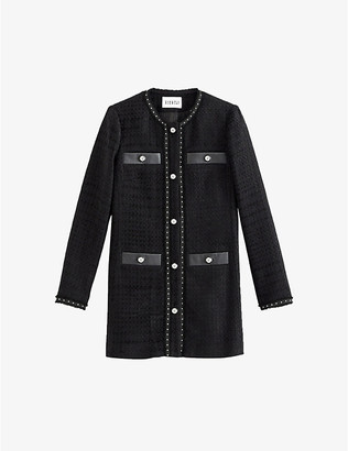 Claudie Pierlot Tweed cotton-blend and leather coat