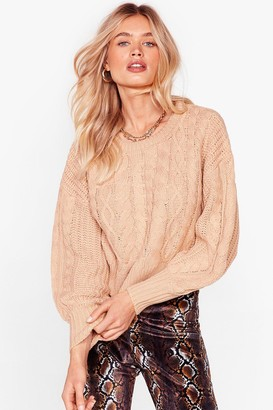 Nasty Gal Womens Cable Talk Relaxed Knitted Jumper - Beige - L