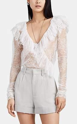 Philosophy di Lorenzo Serafini Women's Ruffle-Trimmed Lace V-Neck Blouse - White