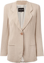 Giorgio Armani notched lapel blazer - women - Mulberry Silk/Viscose/Acetate - 40