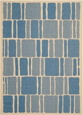 "Martha Stewart Blocks Blue/Beige Area Rug Rugs Rug Size: Rectangle 2'7"" x 5'"