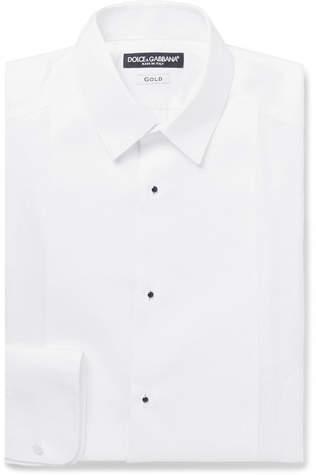 Dolce & Gabbana White Slim-Fit Bib-Front Cotton-Poplin Tuxedo Shirt