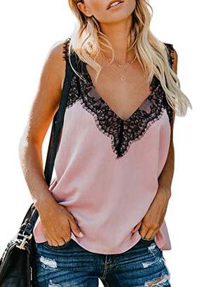 Actloe Women V Neck Lace Patchwork Casual Cami Tank Tops Sleeveless Shirts