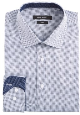 Nine West Men's Slim-Fit Wrinkle-Free Performance Stretch White & Navy Print Dress Shirt