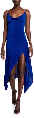 Misha Collection Cherridyn Cowl-Neck Asymmetric Midi Slip Dress