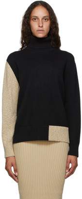 MM6 MAISON MARGIELA Black and Beige Elbow Patch Turtleneck