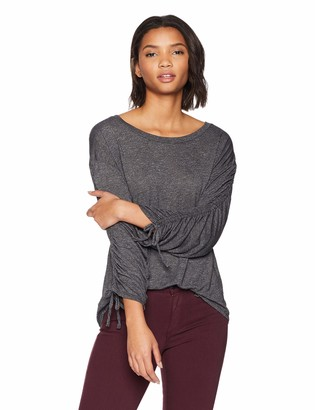 Michael Stars Women's Brooklyn Jersey Long Sleeve Open Neck top
