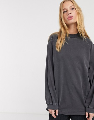 And other stories & raglan long-sleeve jersey top in light grey