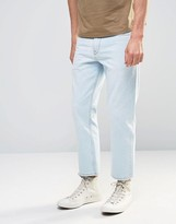 Asos Straight Cropped Jeans In Light Blue