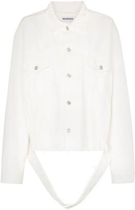 Balenciaga Cut Waistband Oversized Denim Jacket