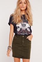 Missguided Superstretch Denim Mini Skirt Khaki