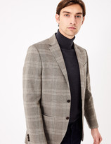 Marks and Spencer Regular Fit Cotton Checked Jacket