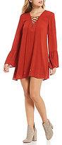Blu Pepper Lace-Up Bell Sleeve Swing Dress