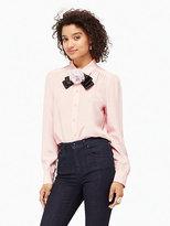 Kate Spade Rosette bow silk shirt
