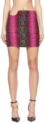 Versace Pink Snake Print Mini Skirt