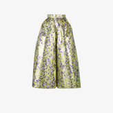 DELPOZO floral print cropped wide-leg trousers