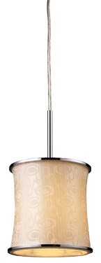 Ebern Designs Michalak 1-Light Single Drum Pendant Glass Finish: Polished Chrome and Retro Beige