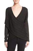 Derek Lam 10 Crosby Women's Metallic Stripe Draped V-Neck Sweater