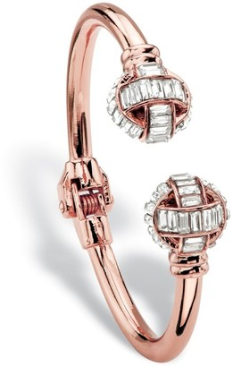 "PalmBeach Jewelry Baguette-Cut Crystal Hinged Cuff Bangle Bracelet in Rose Gold Tone 8"" Bold Fashion"