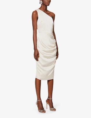 Lavish Alice One-shoulder crepe midi dress