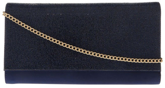 Collection Athena Glitter Flap Over Navy Clutch Bag