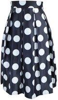 Vogholic Women's Calf-Length Polka Dot High Waist Bubble Skirt(Black,One Size)