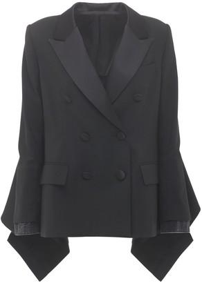 Sacai Wool Blend Blazer W/ Denim Panel