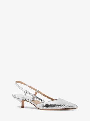 Michael Kors Hallie Crackled Metallic Leather Pump