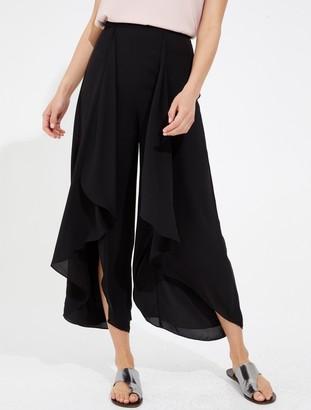 Halston Draped flowing silky georgette pants