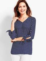 Talbots Tie-Sleeve Stripe V-Neck Top