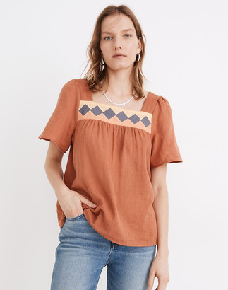 Madewell Patchwork Square-Neck Top