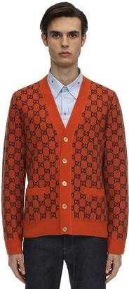 Gucci Jaquard Knit Wool Cashmere Cardigan