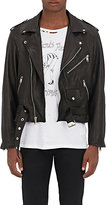 Enfants Riches Deprimes Men's Painted-Back Leather Jacket-BLACK