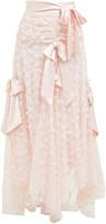 Rodarte Satin Bow Applique Layered-tulle Midi Skirt - Womens - Light Pink