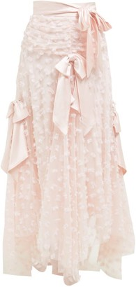 Rodarte Satin Bow Applique Layered-tulle Midi Skirt - Light Pink